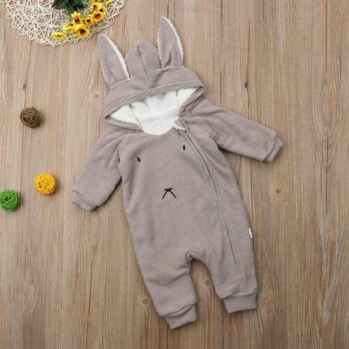 Unisex Newborn Baby Romper Winter Fleece Rabbit Ear Warm Hoodie Clothes Snowsuit