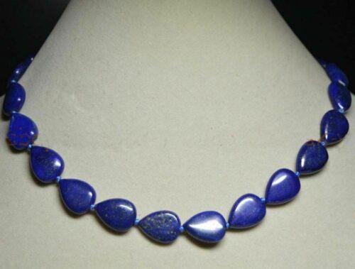 "Natural 13x18mm Blue Egyptian Lapis Lazuli Gemstone Teardrop Necklace 18/"""