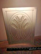 (1) one Silver Wheat Stalks Punched Tin Panel Pie Safe Bread Box Cabinet