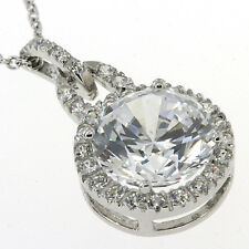 Huge 925 Silver Round White CZ Pendant with 18 925 Silver Chain