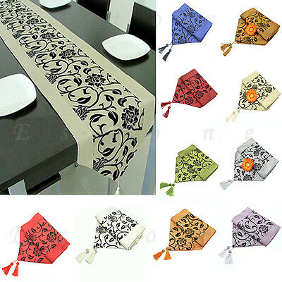 "Fashion 78""X12"" Raised Flower Blossom Flocked Damask Table Runner Cloth Decor"
