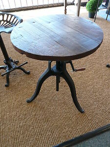 Details About Tripod Winetable Pub Table With Reclaimed Wood Top End Bistro