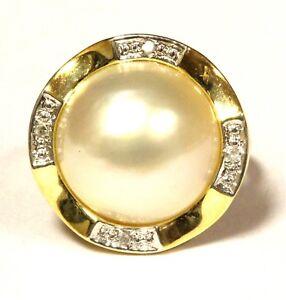 14k-yellow-gold-04ct-SI2-H-diamond-pearl-ring-4-5g-estate-vintage-antique