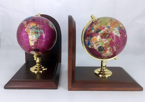 "7/"" Tall pair of Pink Pearl Swirl Ocean wood base Gemstone Globe Bookend"
