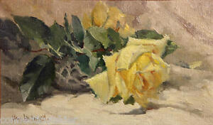 Yellow-Roses-Still-Lilfe-Painting-by-Famous-California-Artist-William-Hubacek