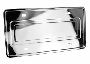Details About Stainless Steel License Plate Frame And Backing Reinforce Holder Bracket Chrome