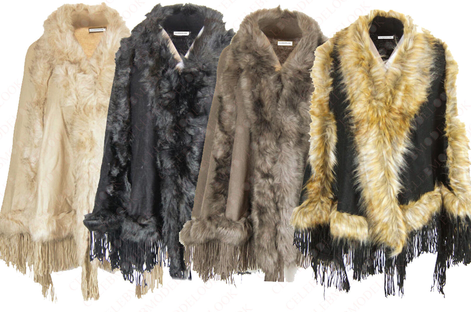 A79 new womens faux layer fourrue fringes cape poncho plus size 8-26