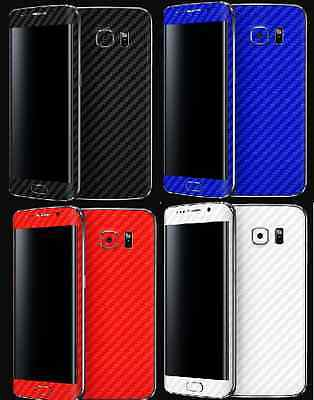 3D Textured Carbon Fibre Skin Sticker Vinyl Samsung Galaxy S4 S5 S6 S6 S7 EDGE 7