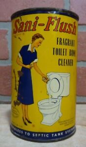 Old SANI-FLUSH FRAGRANT TOILET BOWL CLEANER Poison Container Tin ...