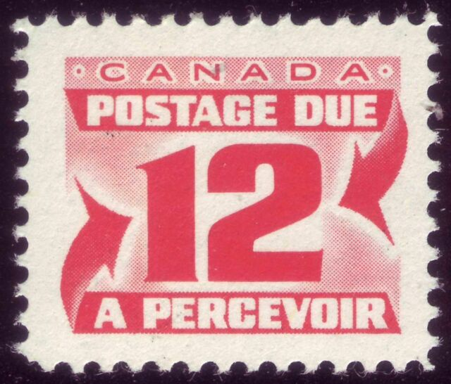 CANADA BOB Postage Due, J36 12c 1969 Centennial Red (2nd issue), DEX DF MNH