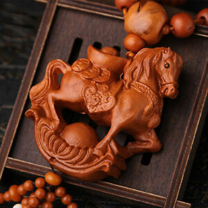 Wealth-Horse-3D-Wood-Carved-Chinese-Feng-Shui-Kallaite-Amber-Beads-Car-Pendant