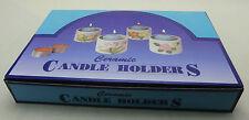 24 vasi di ceramica in scatola, con candele, Disegno Floreale, perfetto per i regali