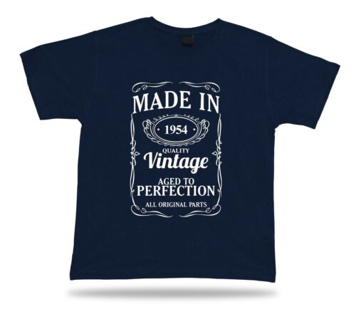 Printed T shirt tee Made in 1954 happy birthday present gift idea unisex