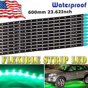 10x-Waterproof-Green-Flexible-Strip-60cm-Car-Motorcycle-2835-LED-Light-12V