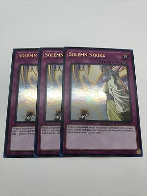 3x Solemn Strike DUDE-EN055 Ultra Rare 1st Edition Playset NM FAST YUGIOH
