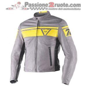 Veste-en-cuir-Dainese-Black-jack-fumee-yellow-cuir-taille-50-blouson-cuir