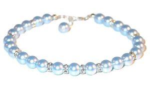 LIGHT-BLUE-Pearl-Bracelet-Sterling-Silver-Handcrafted-Beaded-Swarovski-Elements