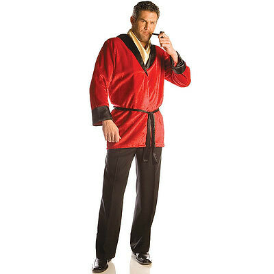 SMOKING JACKET COSTUME RED ROBE HUGH HEFNER PLAYBOY MILLIONAIRE MOGUL MOFIA NEW