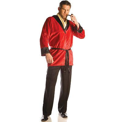 SMOKING JACKET COSTUME RED ROBE HUGH HEFNER PLAYBOY MILLIONAIRE MOGUL MOFIA NEW