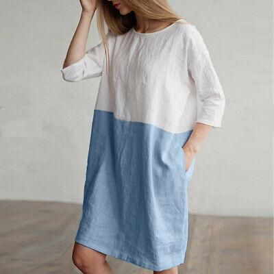 2019 Fashion Women Casual Dress Cotton Linen Loose Pockets Tunic Dress Plus Size