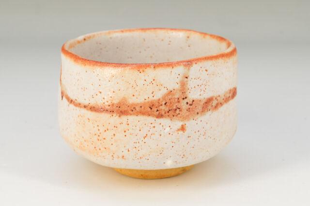 Free Shipping Japanese SHINO Ware Large Tea Bowl Auto White Orange 654k07