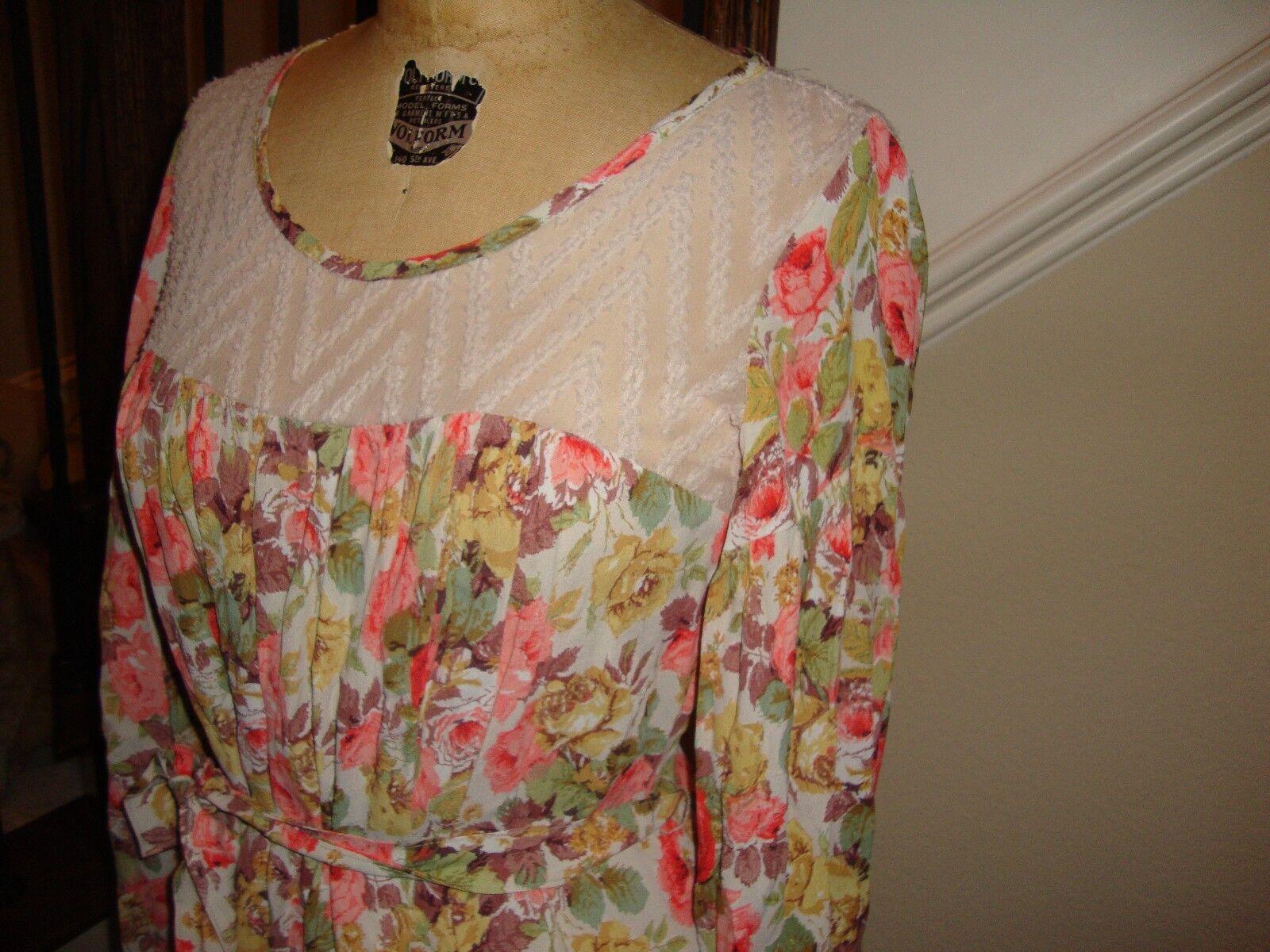 Ivy Jane UNCLE FRANK vintage floral print Boho Dress SO CUTE S