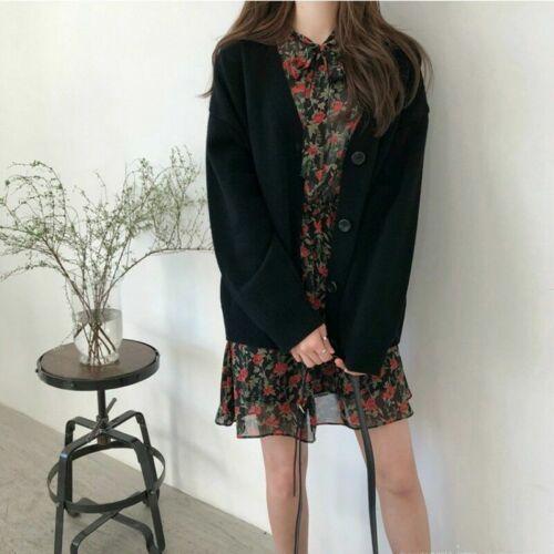 Women Knitted Cardigan Outwear Coat Sweater Jumper Button V Neck Jacket