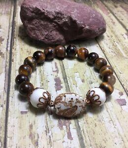 Handmade Spiritual Gemstone Leopard Jasper Bracelet W//Hematite /& Turquoise USA