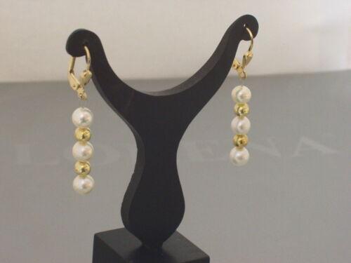 333 Gelbgold Kreolen Creolen Brisuren Ohrringe Hänger Süßwasserperlen weiß Damen