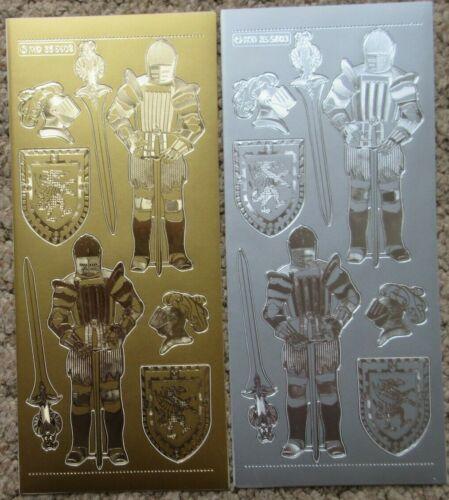 Los Caballeros-Oro Plata Cardmaking Cáscara offs historia Pegatinas Hojas-MD355603