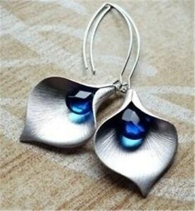 Fashion-925-Silver-Sapphire-Earrings-Ear-Hook-Dangle-Drop-Gift-Party-Jewelry