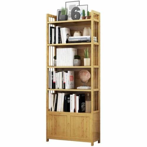 Solid Bamboo Bookcase Shelf Multi-Tiers Storage Organizer Modern Stylish