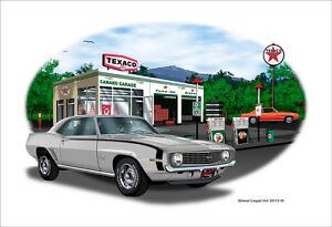 1969 Camaro SS 350 Garage Muscle Car Art Print - Silver