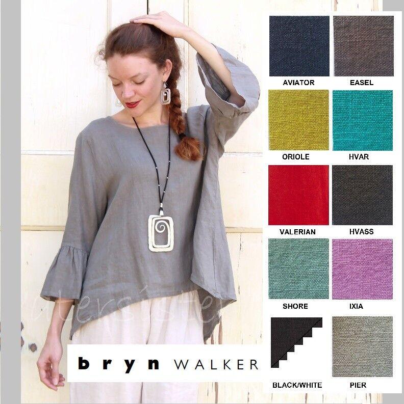 BRYN WALKER Light Linen FRAN TOP Ruffle Sleeve Swing Blouse XS S M L XL SPR 2018