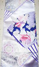 Vintage Japanese Kimono Wedding Obi Fabric Piece Birds Mandarin Duck Fans
