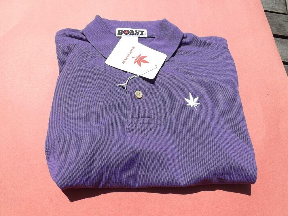 1 Neuf Avec étiquettes Se Vanter D'homme à Manches Courtes Polo Shirt Small Violet Avec Pot Leaf