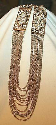 Gorgeous Latticed SimPearl Insets Multi-Strand Chains Antique Gold Necklace