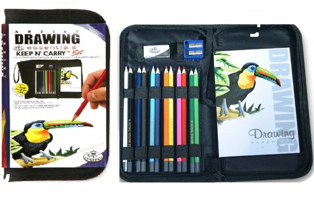 ARTIST ZIP UP CARRY CASE & 12 COLOUR DRAWING SKETCHING PENCILS & PAD SET-KCDS
