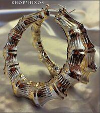 "LARGE 3.5"" GOLD RETRO BAMBOO DOOR KNOCKER 80's HOOP EARRINGS NEW"