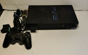 Sony PlayStation 2 PS2 Fat Black Console W/ Cables Controller + 31 Games SEE PIC