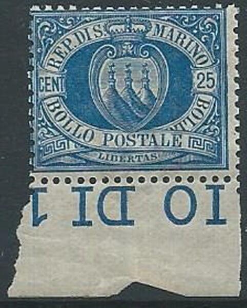 1894-99 San Marino Stemma 25 Cent Mnh ** - W140-3