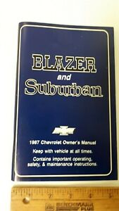 1987-BLAZER-SUBURBAN-Original-Owners-Manual-Guide-Excellent-NOS-Condition-US