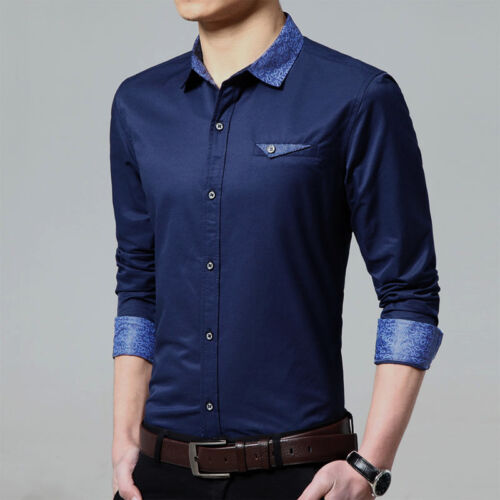 5247 New Fashion Men/'s Luxury Casual Slim Fit Stylish Dress Shirts 4 couleur 5 taille