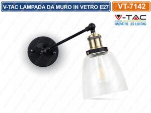 V tac vt 7142 lampada applique da muro in vetro trasparente per