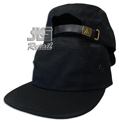 5 PANEL Camper STRAPBACK HAT Leather Strap Cadet Cap plain blank racer biker