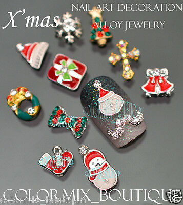 12 pcs 3D Christmas Nail Art Decoration Alloy Jewelry Glitter Rhinestones SET3