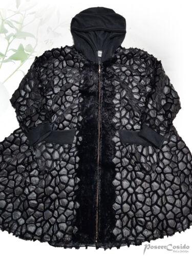 PoCo DeSiGn LAGENLOOK Lederimitat Long-Jacke Kurz-Mantel schwarz L-XL-XXL-XXXL