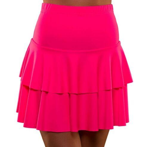 Ladies 1980s Fancy Dress Neon Pink Ra Ra Skirt 80s Stretch Skirt by Wicked