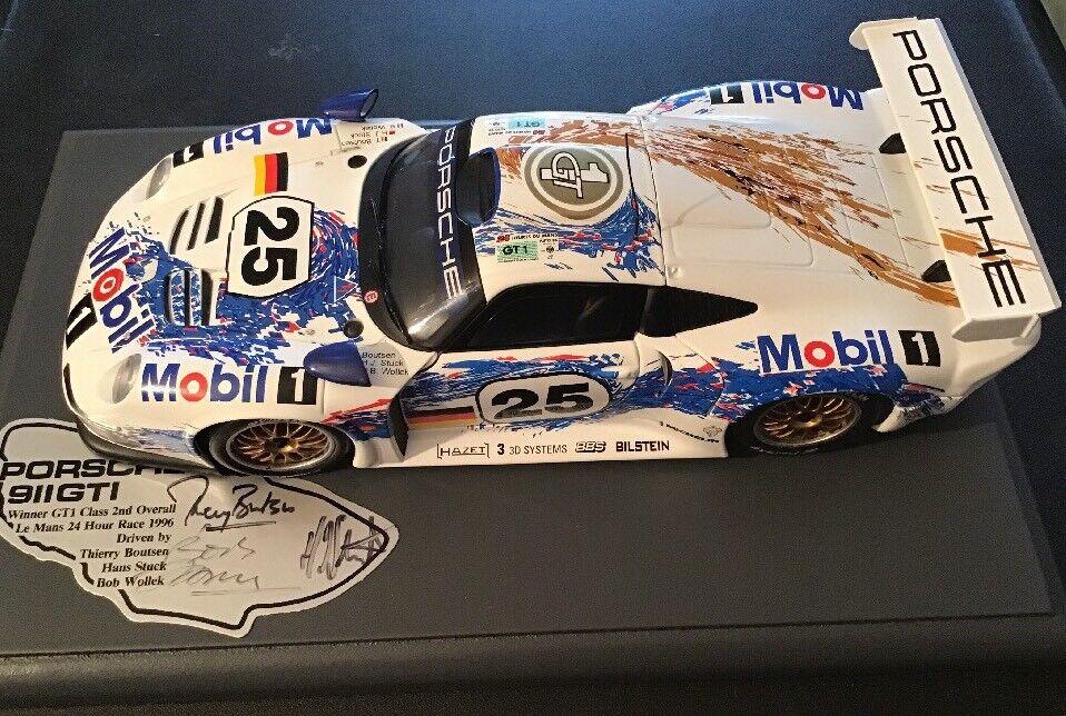 UT Models 1 18 Porsche 911 GTI 1996 Le Mans 24hr Race, Signed Base By Drivers
