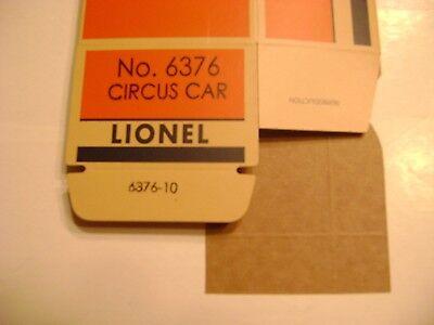 "6376 Lionel Lines /""Circus Car/"" Stock Car  Licensed Reproduction Box Lionel No"